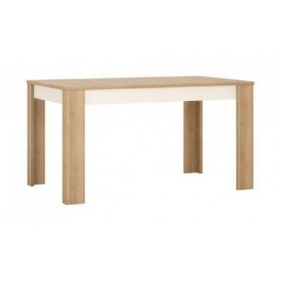 Étkezőasztal, nagyobbítható, 140x76,5 cm, fehér-tölgy - ARIZONA